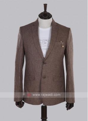 brown checks linen blazer