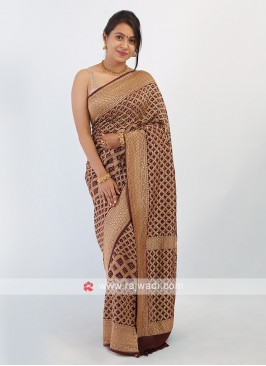 Brown Bandhani Chiffon Saree
