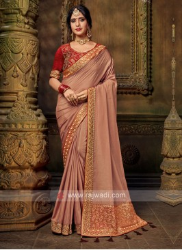 Brown Color Art Silk Saree