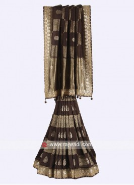 Brown color banarsi silk saree