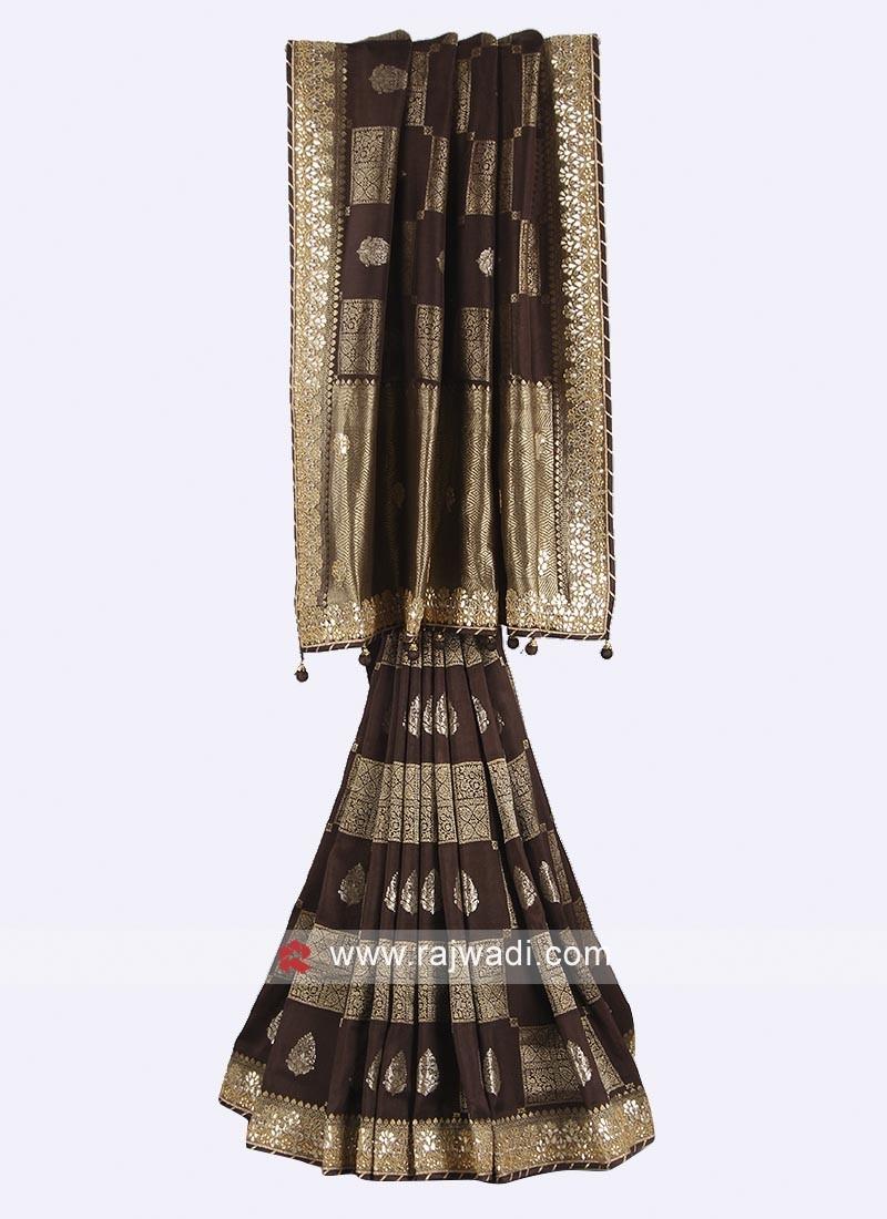 Brown color banarsi silk saree