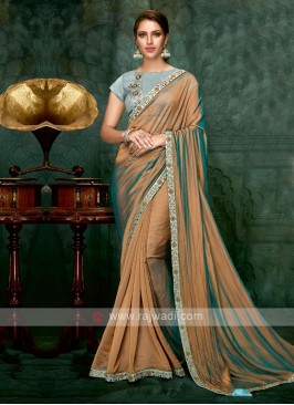 brown color chiffon silk saree