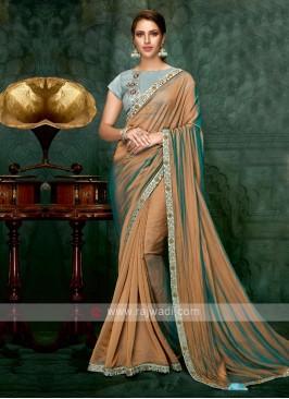 brown color chiffon silk saree