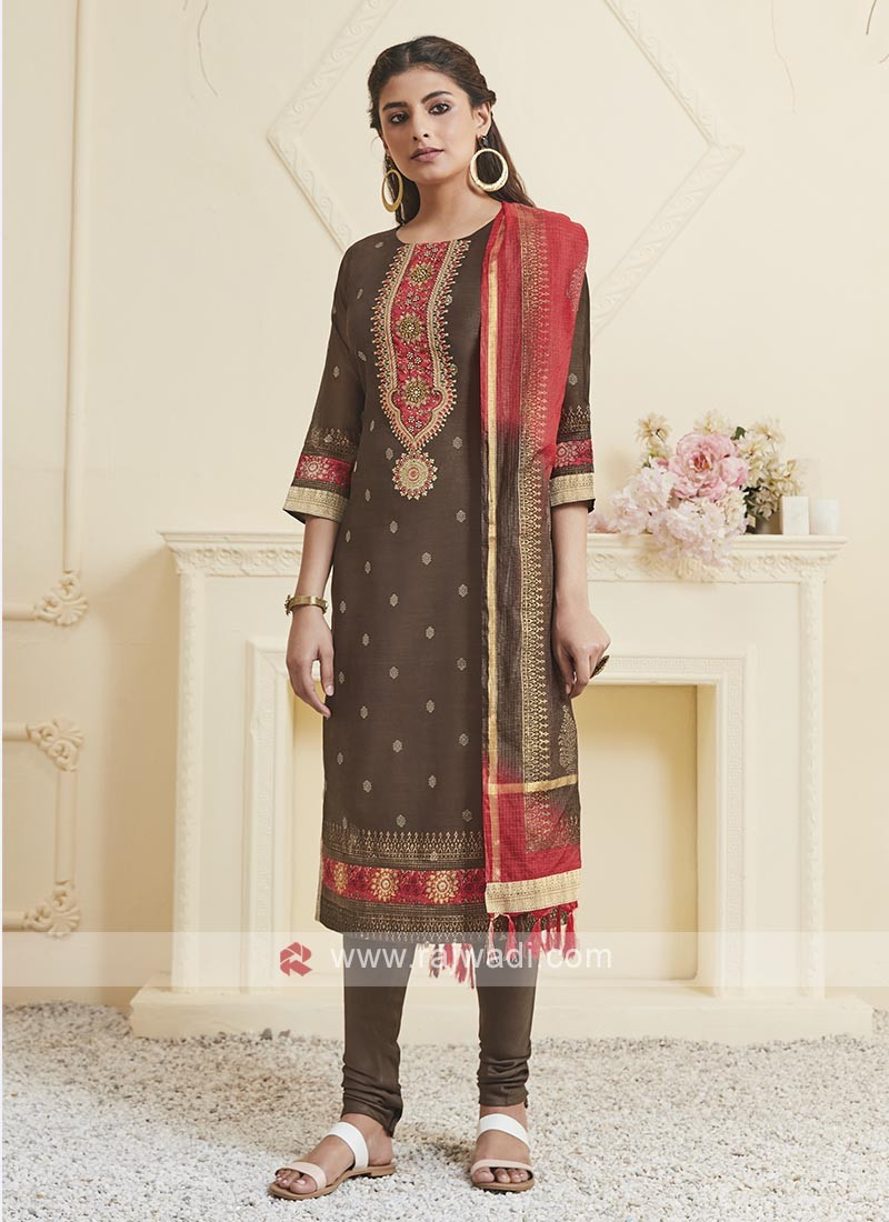 Shagufta Brown Color Churidar Salwar Suit