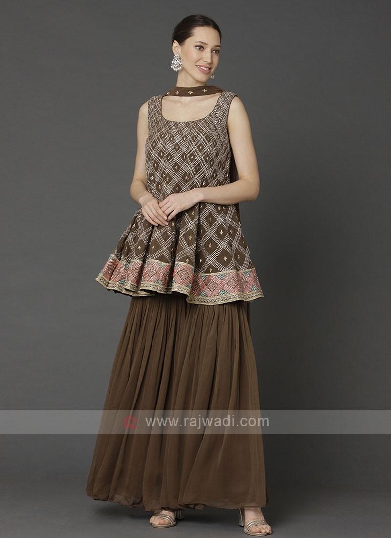 Brown Color Gharara Suit With Dupatta