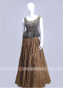 Brown color indowesten style choli suit