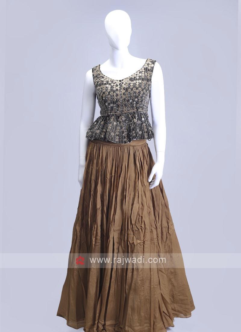 Brown color indowesten style choli suit