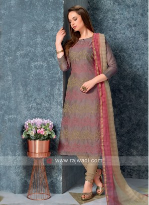 Brown Color Kurta with Churidar & Dupatta
