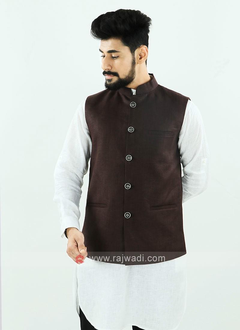 Brown Color Nehru Jacket For Men