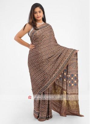 Brown Color Printed Gajji Silk saree