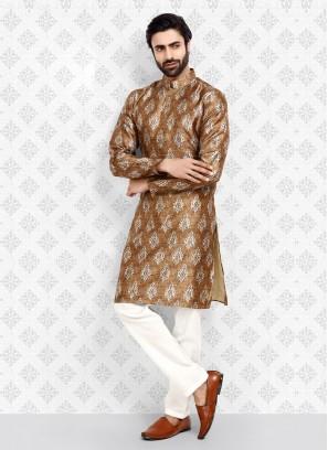 Brown Color Printed Kurta Pajama