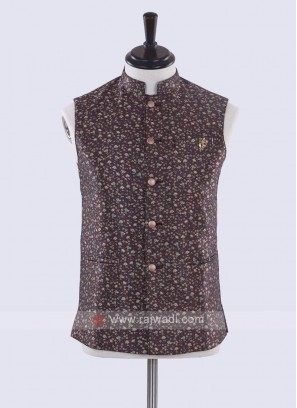 Brown color printed nehru jacket