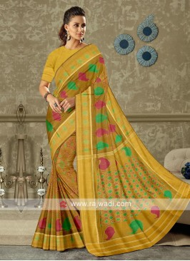 brown color pure silk saree