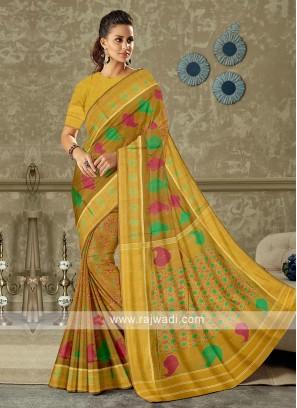 brown color pure silk saree