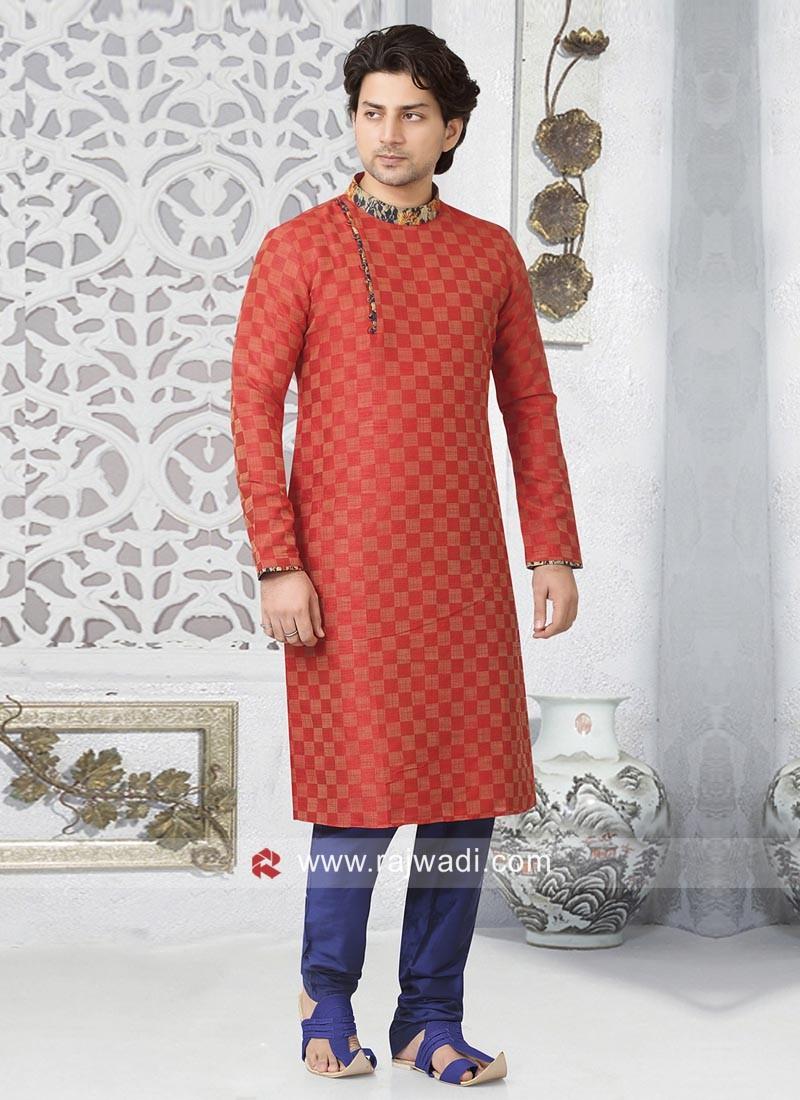 Stylish Red Color Kurta and Pajama