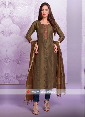 Brown Cotton Silk Salwar Suit