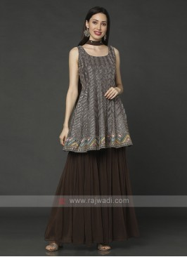 Brown Designer Gharara Suit