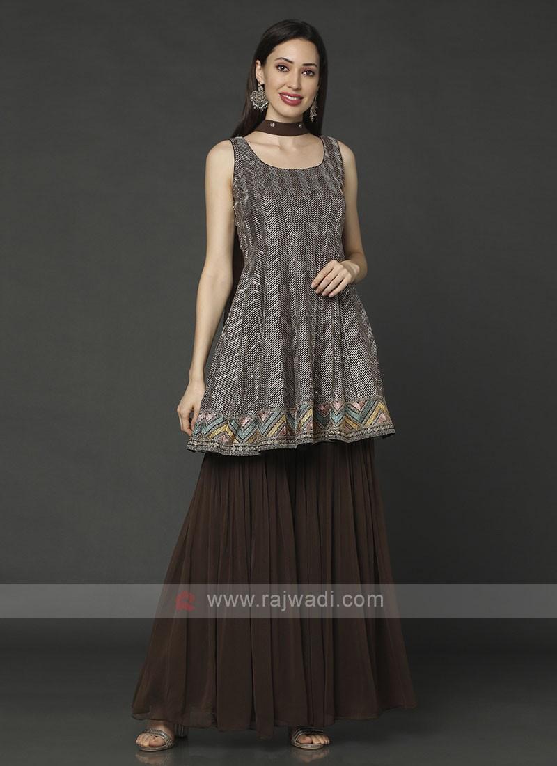 Brown Designer Gharara Suit