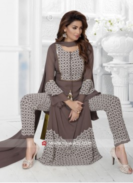 Brown Designer Trouser Suit with Dupatta