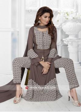 Brown Designer Trouser Suit with Dupatta