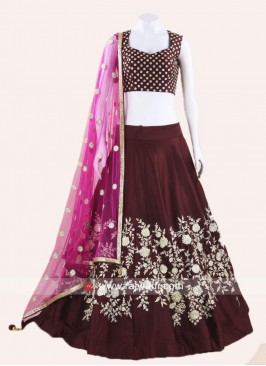 Brown Embroidered Lehenga