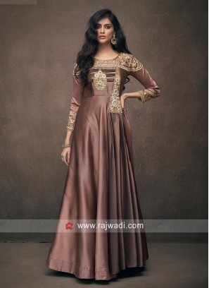 Brown Embroidered Wedding Gown