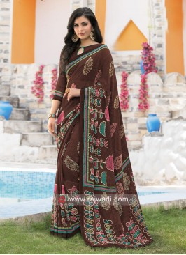 Brown Georgette Casual Printed Sari