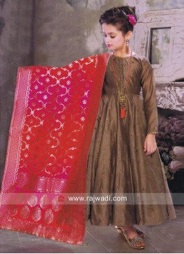 Brown Kids Anarkali with Contrast Dupatta