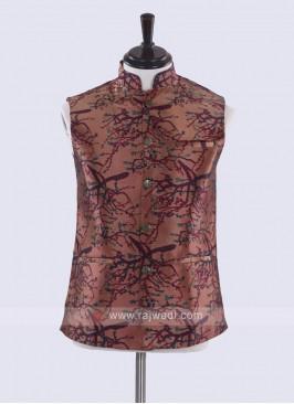 Brown & multi color print nehru jacket