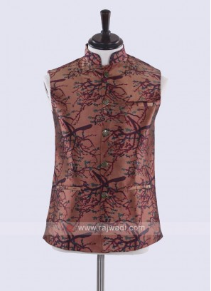 Brown & multi color print nehru jacket