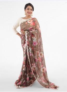 Brown Organza Saree With Floral Printed