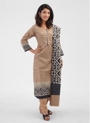 Brown Pant Style Cotton Silk Salwar Suit
