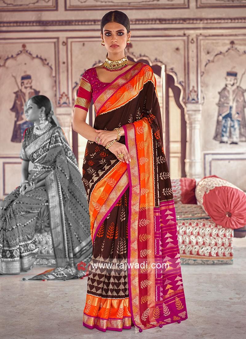 Brown Patola Printed Art Dola Silk Saree