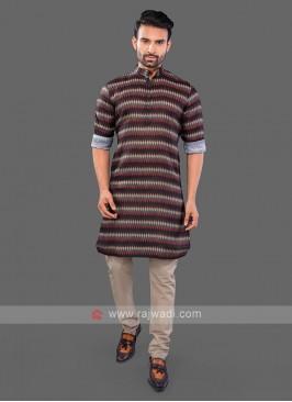 Brown Printed Kurta Pajama