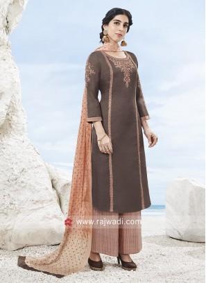 Brown Resham Work Palazzo Suit