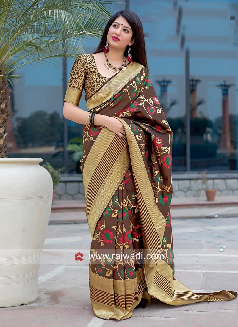 Brown Saree with Golden Woven Border