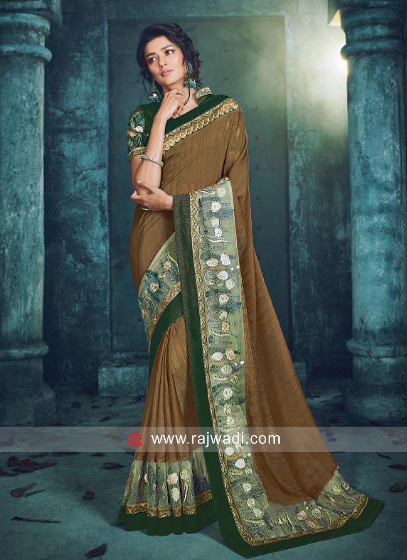 Brown Saree with Green Blouse