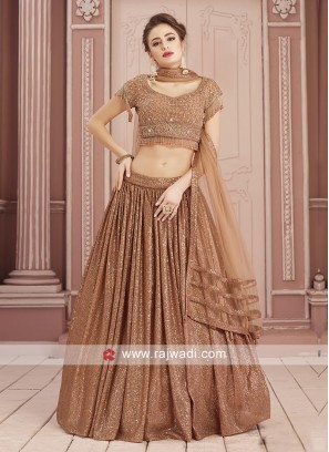 Brown Sequins Work choli Suit For Wedding