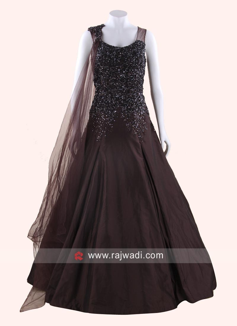 Brown Sequins Work Full Length Gown