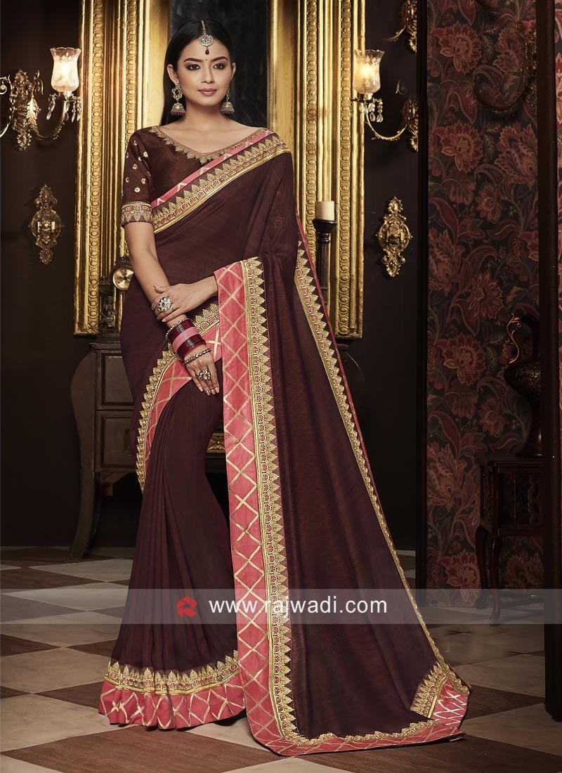 Brown Silk Wedding Saree