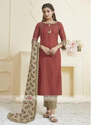 Shagufta Brown & Skin Color Pant Style Salwar Suit
