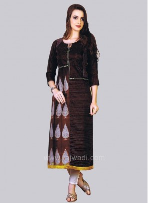 Brown Straight Kurti with Leaf Embroidery Work