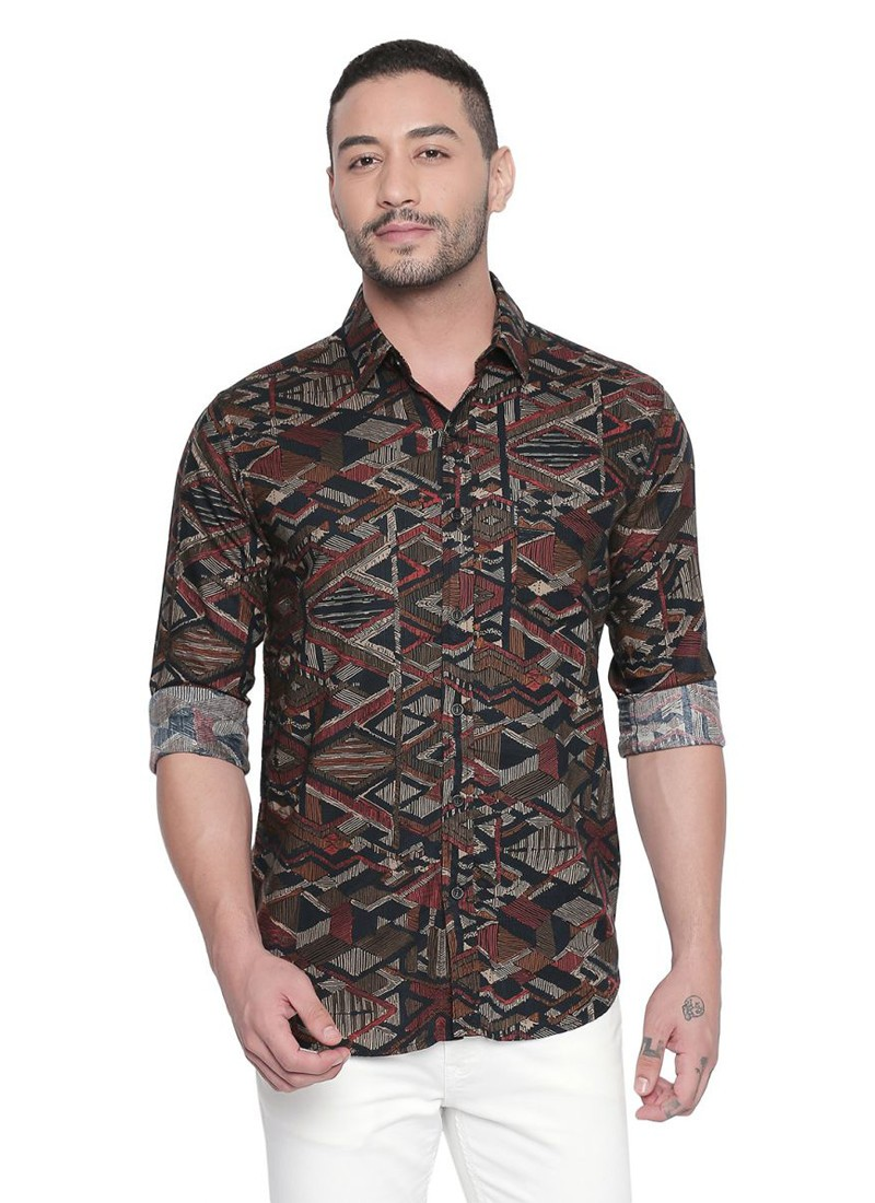 Brown Tribal Print Full Sleeves Shirt