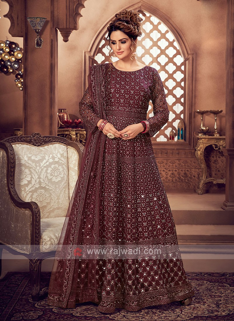 Burgundy Color Anarkali Suit