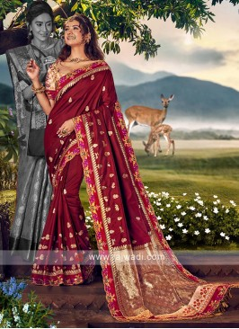 Burgundy Color Banarasi Silk Saree