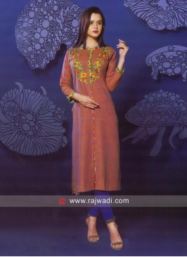 Butter Silk Designer Kurti with Sleeves