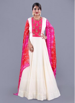 Butter Silk Flared Gown with Cape Style Sleeves