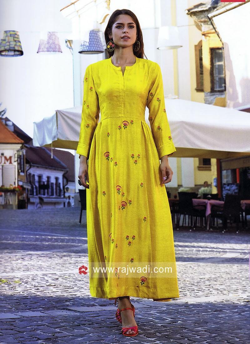 Dressline Butter Silk Golden Yellow Long Kurti