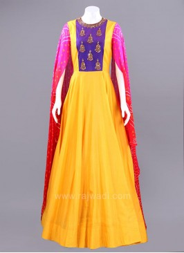 Butter Silk Gown with Cape Style Sleeves