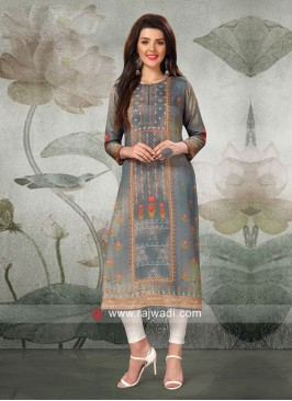 Butter Silk Grey Kurti with Buttons
